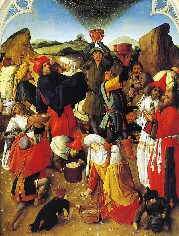 Recogiendo el Maná. Museo de Chartreuse (1470).