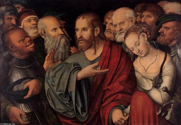 Lucas Granach, el joven. Cristo y la mujer sorprendida en adulterio