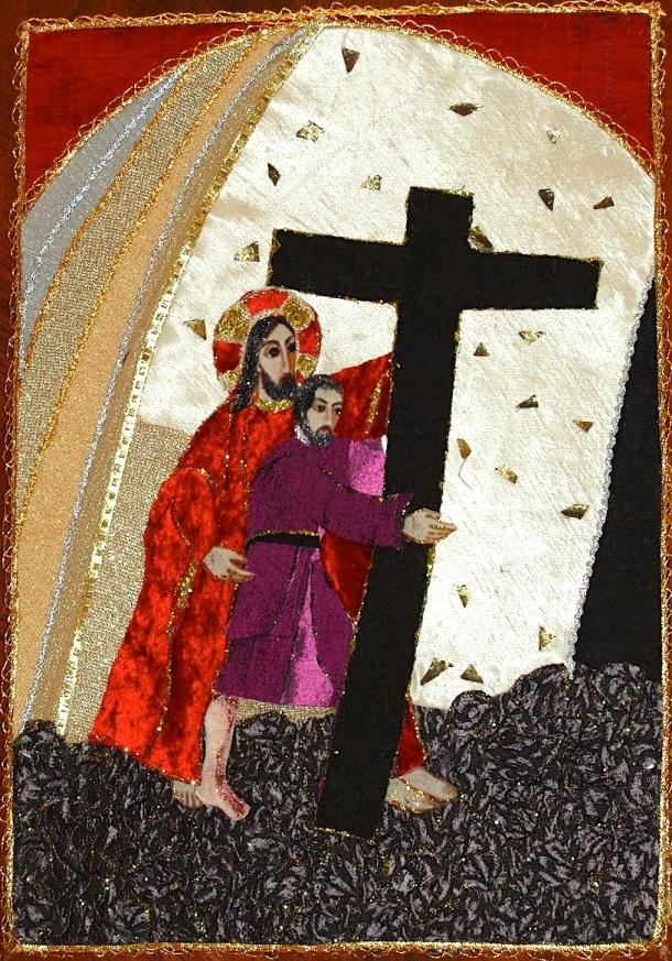 Arte en seda. Lago Caburgua, Capilla Virgen de los pobres, V Estación Jesús es ayudado por el Cireneo