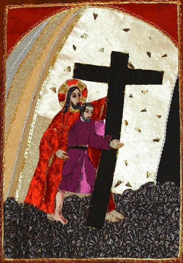 Arte en seda. Capilla Virgen de los pobres, Lago Caburgua V Estación Jesús es ayudado por el Cireneo
