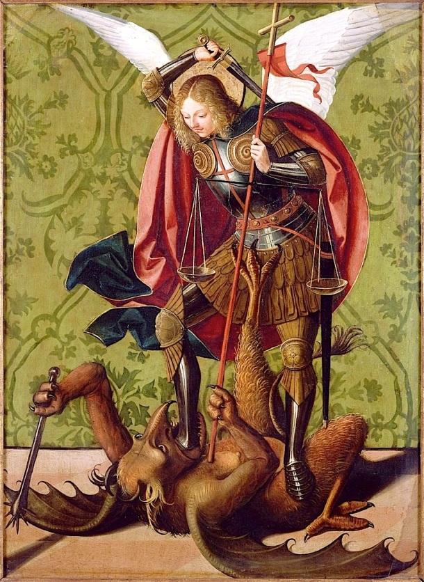 San Miguel mata al dragón, Josse Lieferinxe, siglo XV