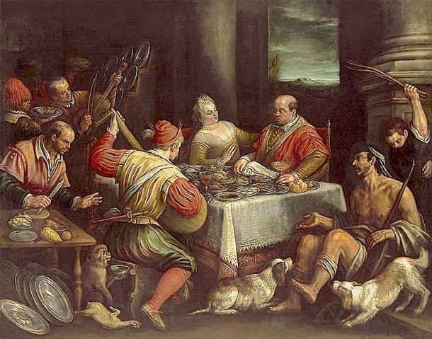 El rico y Lázaro, Leandro Bassano, venecia, 1595